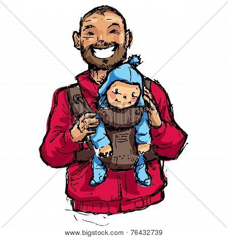 Cartoon Vector Illustration Father With Baby Son In Carrier Pouch