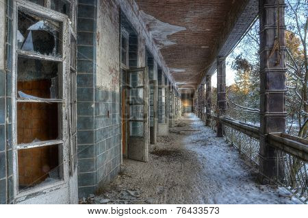 Balcony In The Abandoned Hospital In Beelitz