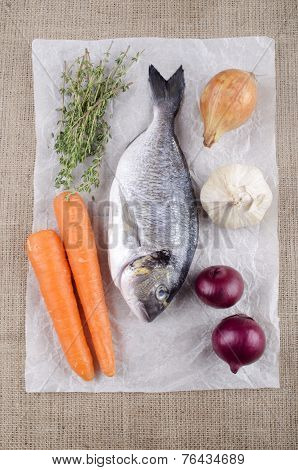 Raw Sea Bream With Vegetable