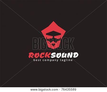 Abstract rocker face vector logo icon concept. Logotype template for branding