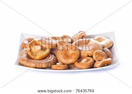 Tray With Lactarius Deliciosus Or Saffron Milk Caps