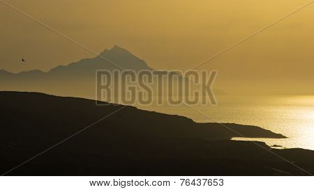 Greek coast landscape near holy mountain Athos at sunrise, Chalkidiki