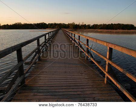 Woden bridge over lake