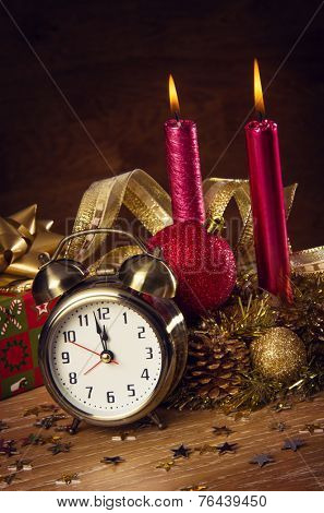 Christmas decorations and a clock showing mid-night