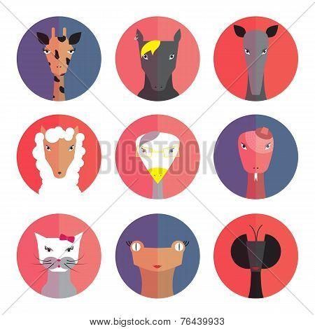 Set Avatars Animals (female) Flat Style.
