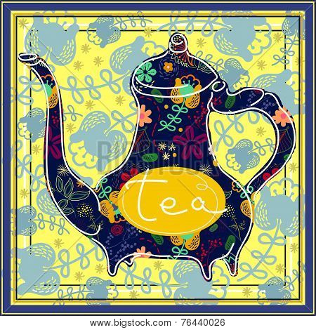 Floral designed tea pot . Tea time illustration
