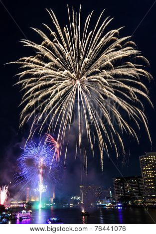 Colorful Fireworks In Bangkok, Thailand
