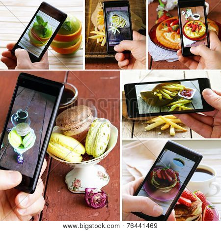 collage smartphone shot food photo with different food