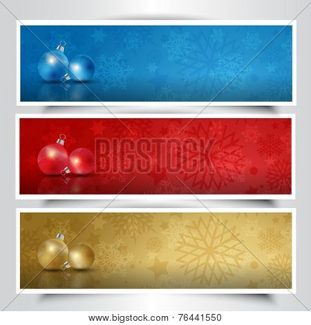 Colection of Christmas bauble headers in different colours