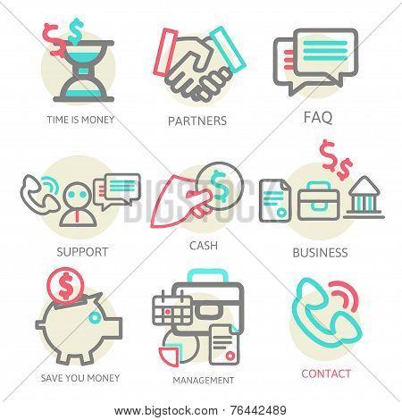 Liner set business concept, vector