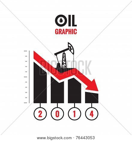 Oil down graphic - vector concept illustration. Catastrophic drop in oil prices. The global financia