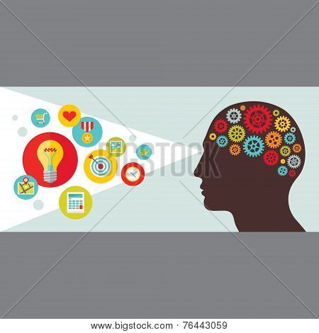 Human head with gears vector illustration. Human sight concept illustration with icons in flat style