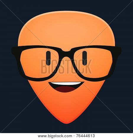 Cute Guitar Pick Avatar Wearing Glasses