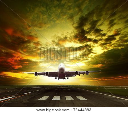 Passenger Plane Ready To Take Off On Airport Runways Use For Traveling ,cargo ,air Transport ,busine