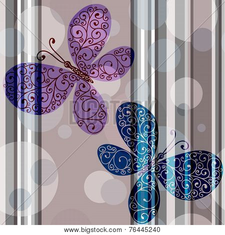 Seamless pattern with lace butterflies