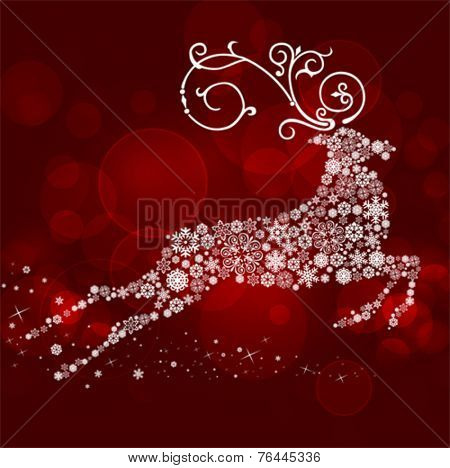 Vector illustration of a snow reindeer on red background