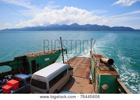 Ferry Boat Sailing Over Blue Sea Water Use For Island And Sea Transportation