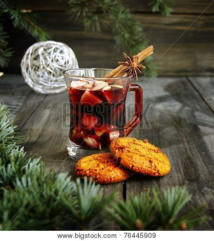 cup of hot Christmas mulled wine