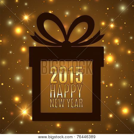 Happy new year 2015 celebration background with golden gift icon