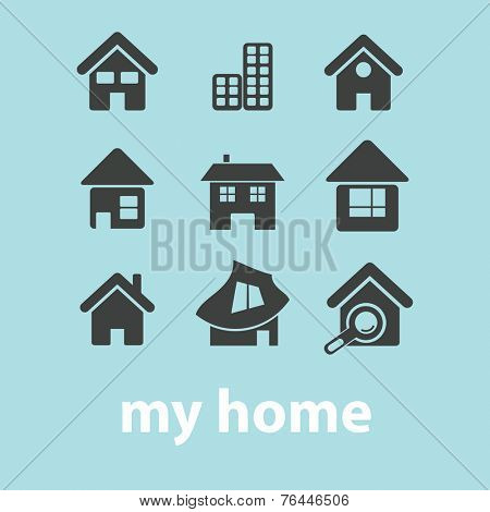 home, page, building, house icon, vector set
