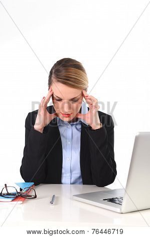 Young Businesswoman Working In Stress At Office Computer Frustrated