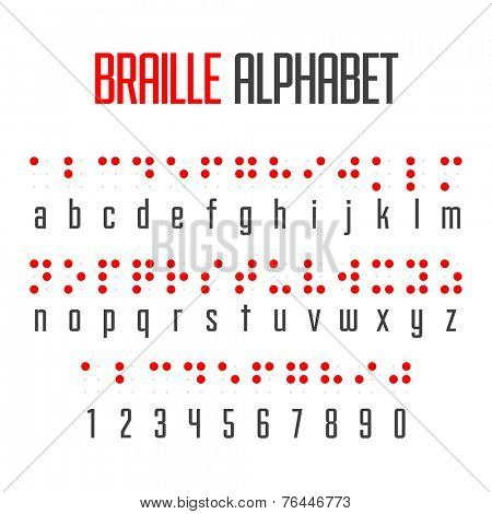 Braille alphabet and numbers. Vector.