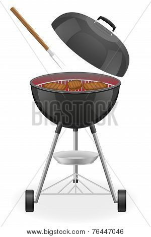 Outdoor Grill For A Barbecue With Grilled Steak Vector Illustration