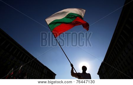 Silhuette Of Man With Bulgarian Flag