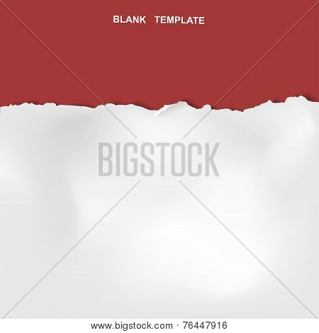 Ripped Paper Template Isolated On Red