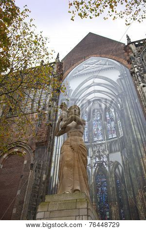 The Statue Of Corinne Franz-heslenfeld In The Direction Of The Dom Of Utrecht, Netherlands