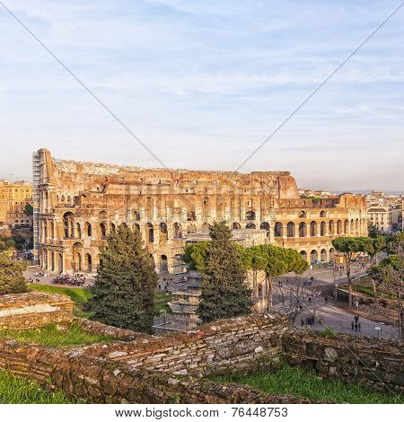 Rome Colosseum From Forum Ruins
