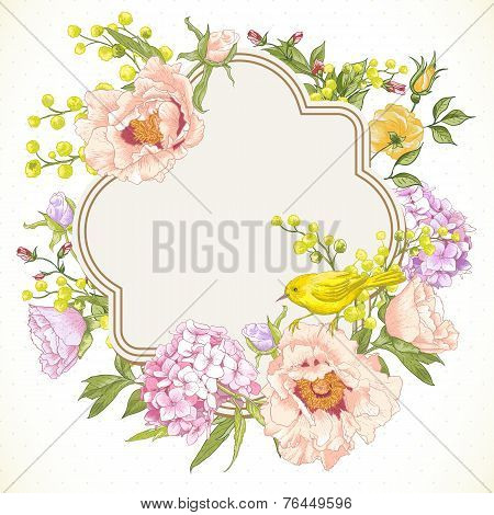 Spring Vintage Floral Bouquet with Birds