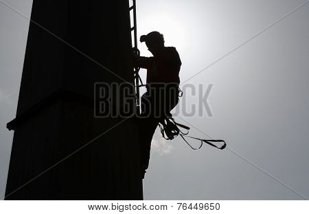 Cabin Lift Pillar Silhouette And Rescuer