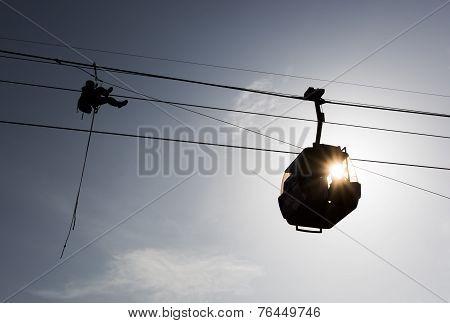 Cabin Ski Lift Silhouette And Person