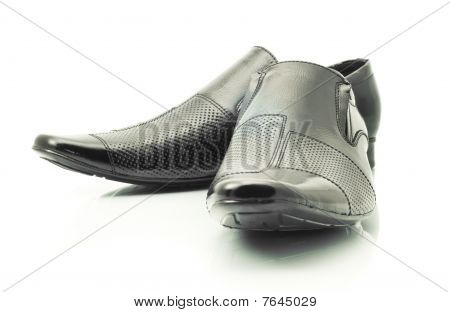 Black Patent-leather Shoes On White