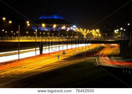 Stockholm, Sweden night time highway