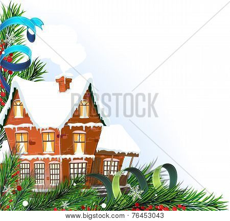 Brick Cottage With Pine Branches
