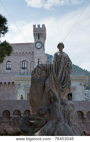 Statue In Front Of The Prince's Palace In Monaco