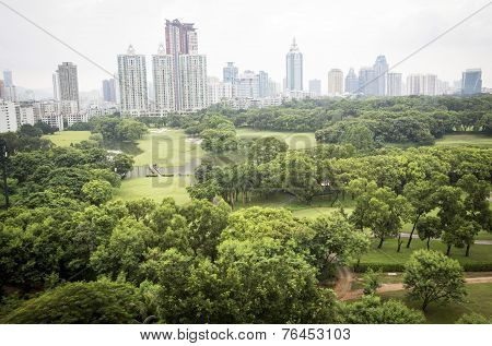 Park, Trees And Modern Bussiness Buildings In Beijing, China