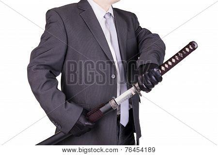 Elegant Assassin Holding Katana