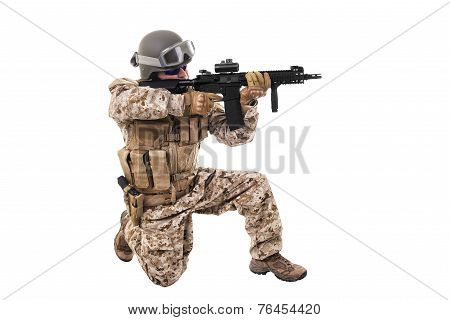 Soldier In Uniform, Ready To Fight