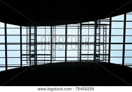 Abstract Geometric Ceiling In Office Center