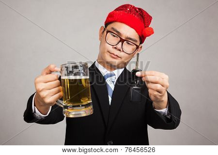 Asian Businessman With Party Hat Decide Drink Or Drive