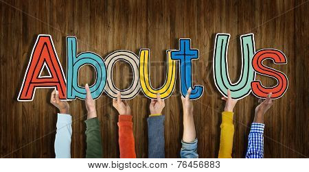 Multiethnic Group of Hands Holding Word About Us
