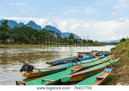 Boats In Nam Song River At Vang Vieng, Laos