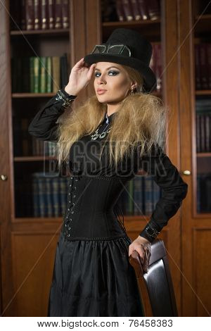 Vintage sexy girl next to the bookcase, gothic