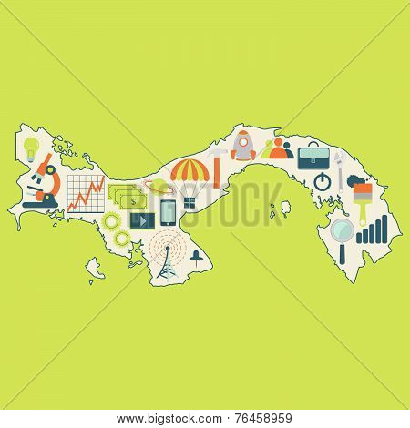 Map Of Panama With Technology Icons