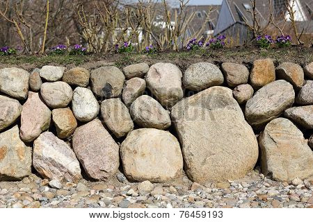 Frisian Stone Wall With Pansies