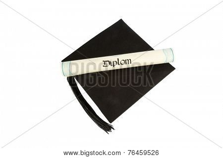 a diploma on a mortarboard symbol ,, photo for education and success