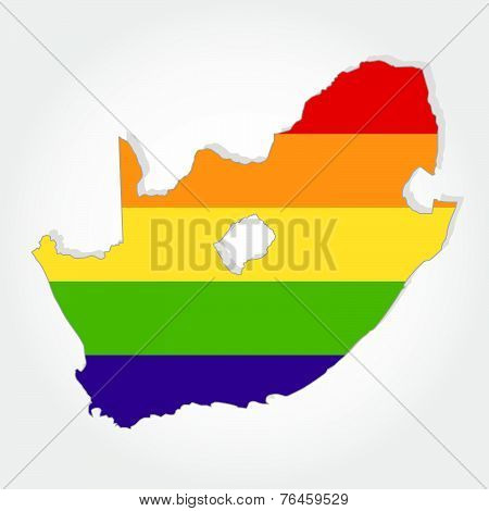 Rainbow Flag In Contour Of South Africa